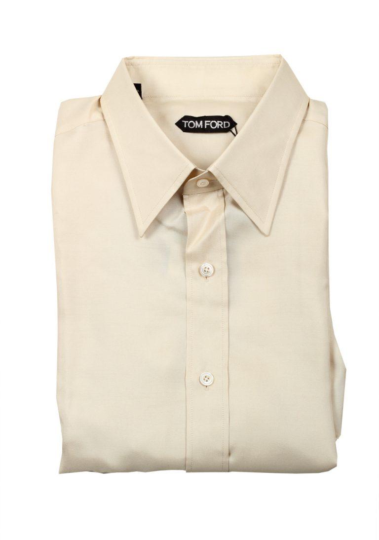 TOM FORD Solid Beige Silk Dress Shirt - thumbnail | Costume Limité