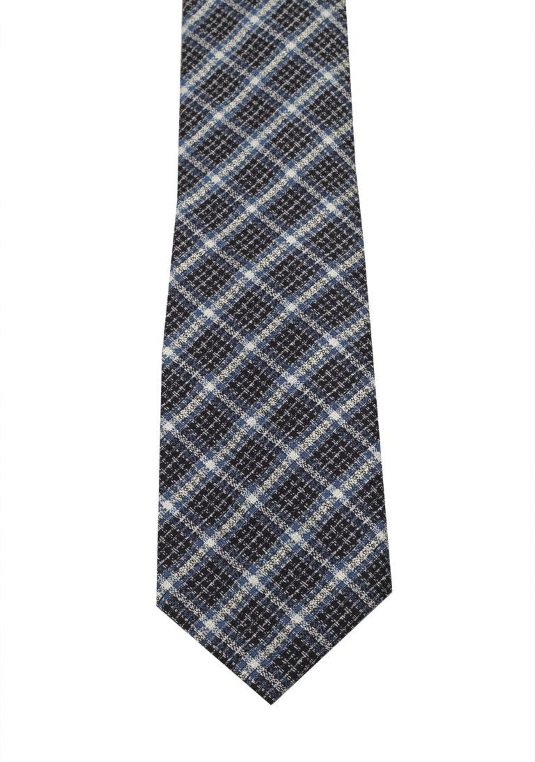 TOM FORD Checked Blue Black White Tie In Silk - thumbnail | Costume Limité