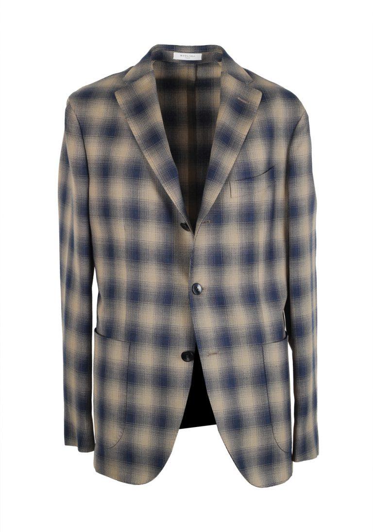 Boglioli K Jacket Beige Blue Checked Sport Coat - thumbnail | Costume Limité