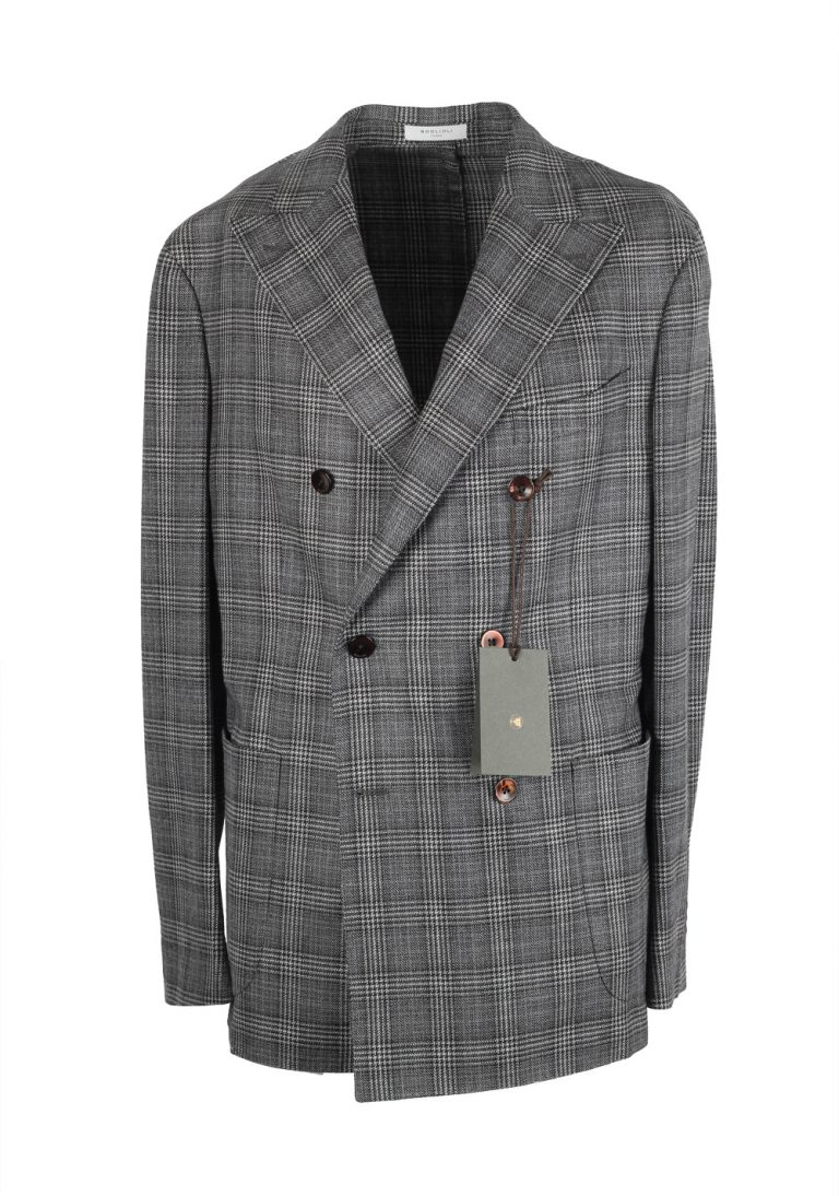 Boglioli K Jacket Gray Double Breasted Checked Sport Coat - thumbnail | Costume Limité