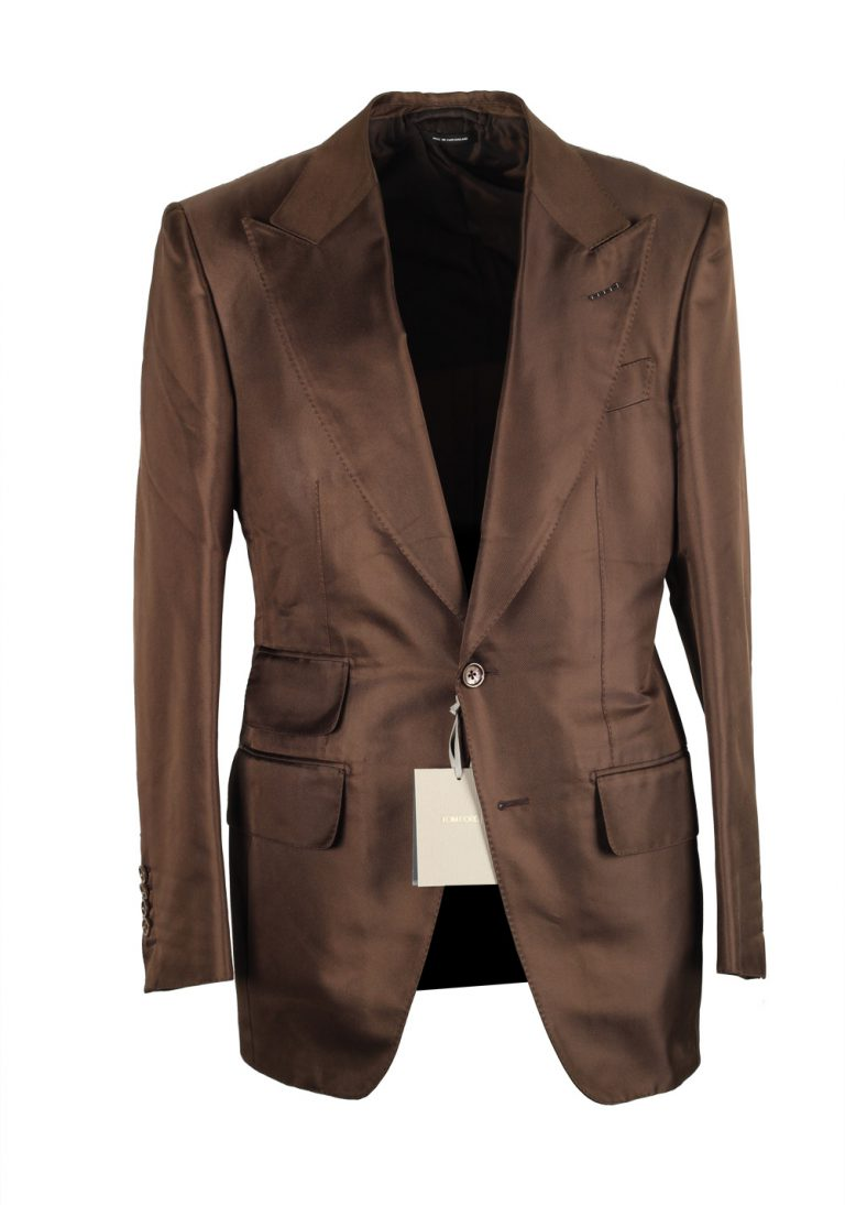 TOM FORD Atticus Brown Suit Size 46 / 36R U.S. In Silk - thumbnail | Costume Limité