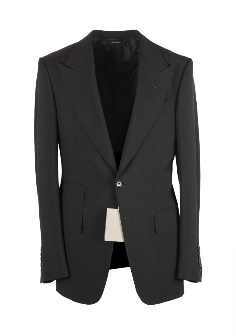 TOM FORD Shelton Solid Black Suit Size 44 / 34R U.S. In Mohair - thumbnail | Costume Limité