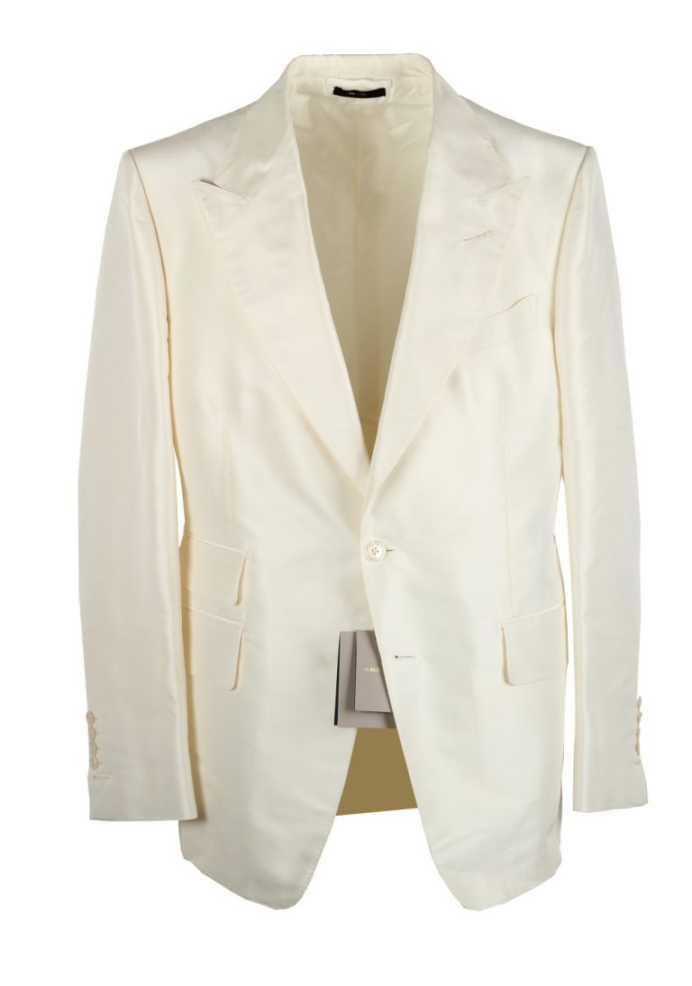 TOM FORD Shelton Off White Sport Coat In Silk - thumbnail | Costume Limité