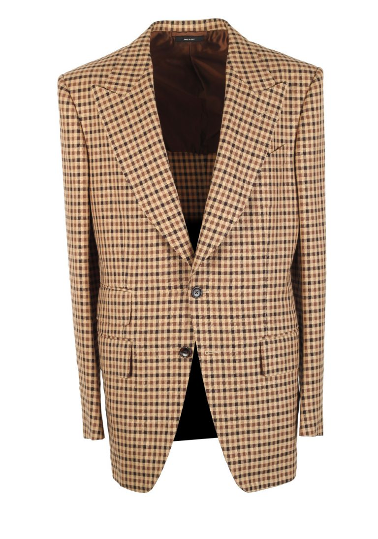 TOM FORD Atticus Checked Brown Sport Coat Size 50 / 40R U.S. - thumbnail | Costume Limité