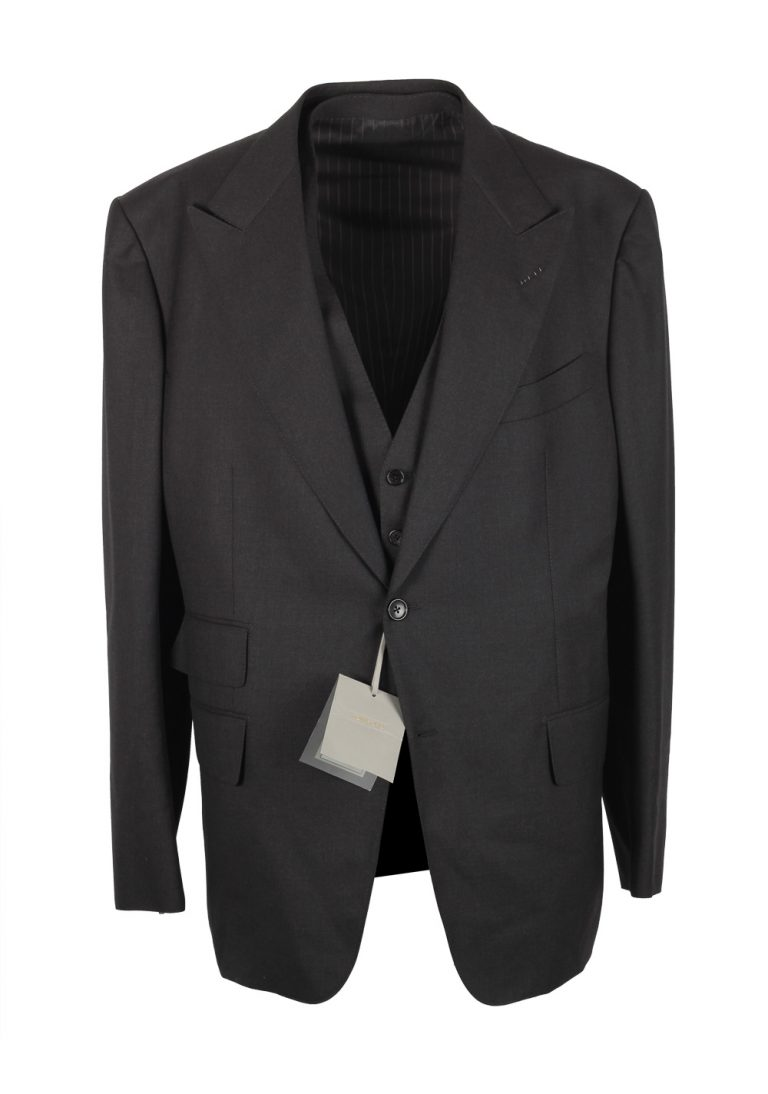 TOM FORD Spencer Gray Checked 3 Piece Suit Size 58 / 48R U.S. Wool Fit D - thumbnail | Costume Limité