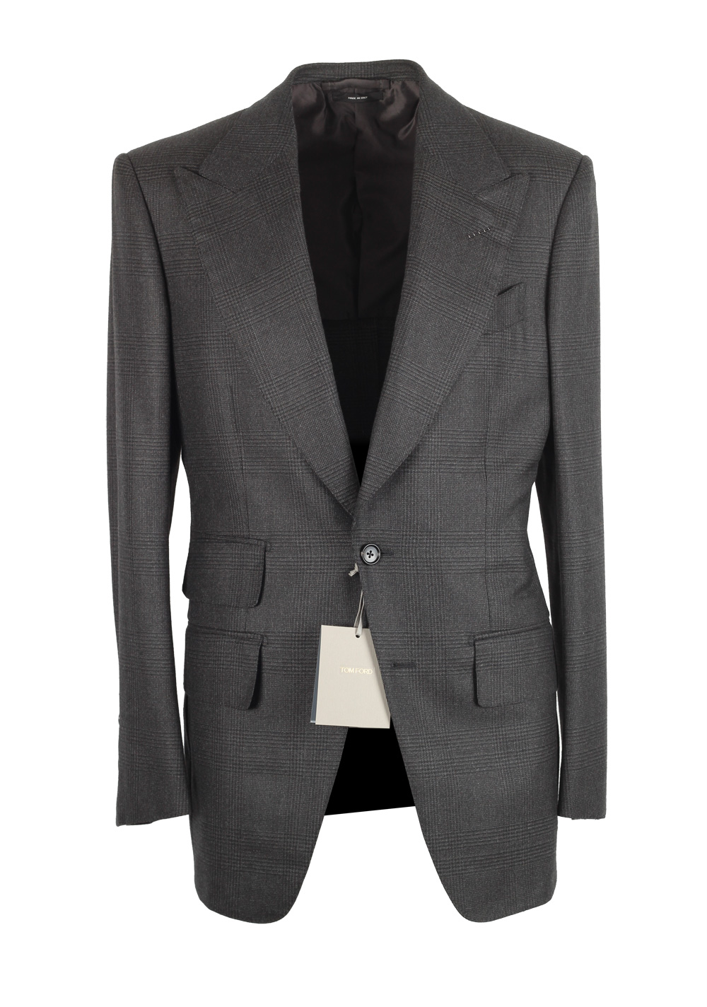 TOM FORD Atticus Gray Checked Suit Size 46 / 36R U.S.   Costume Limité