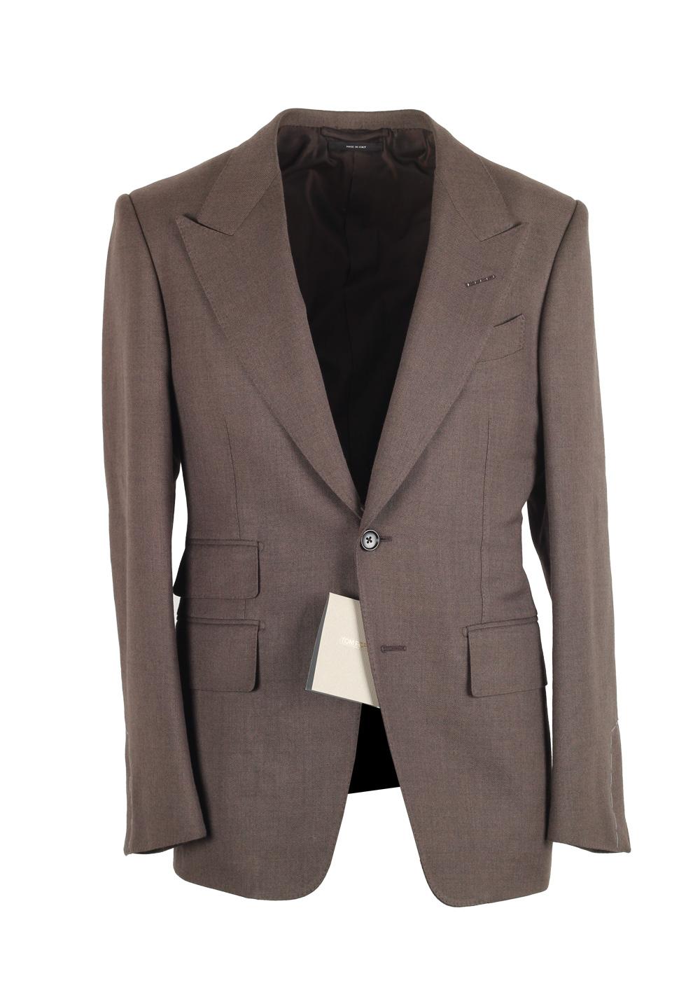 TOM FORD Shelton Solid Brown Suit Size 44C / 34S U.S.   Costume Limité