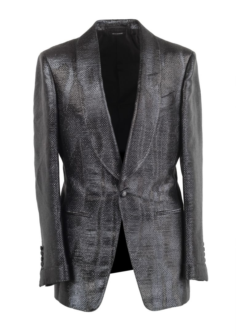 TOM FORD Atticus Black Tuxedo Dinner Jacket Size 46 / 36R U.S. - thumbnail   Costume Limité