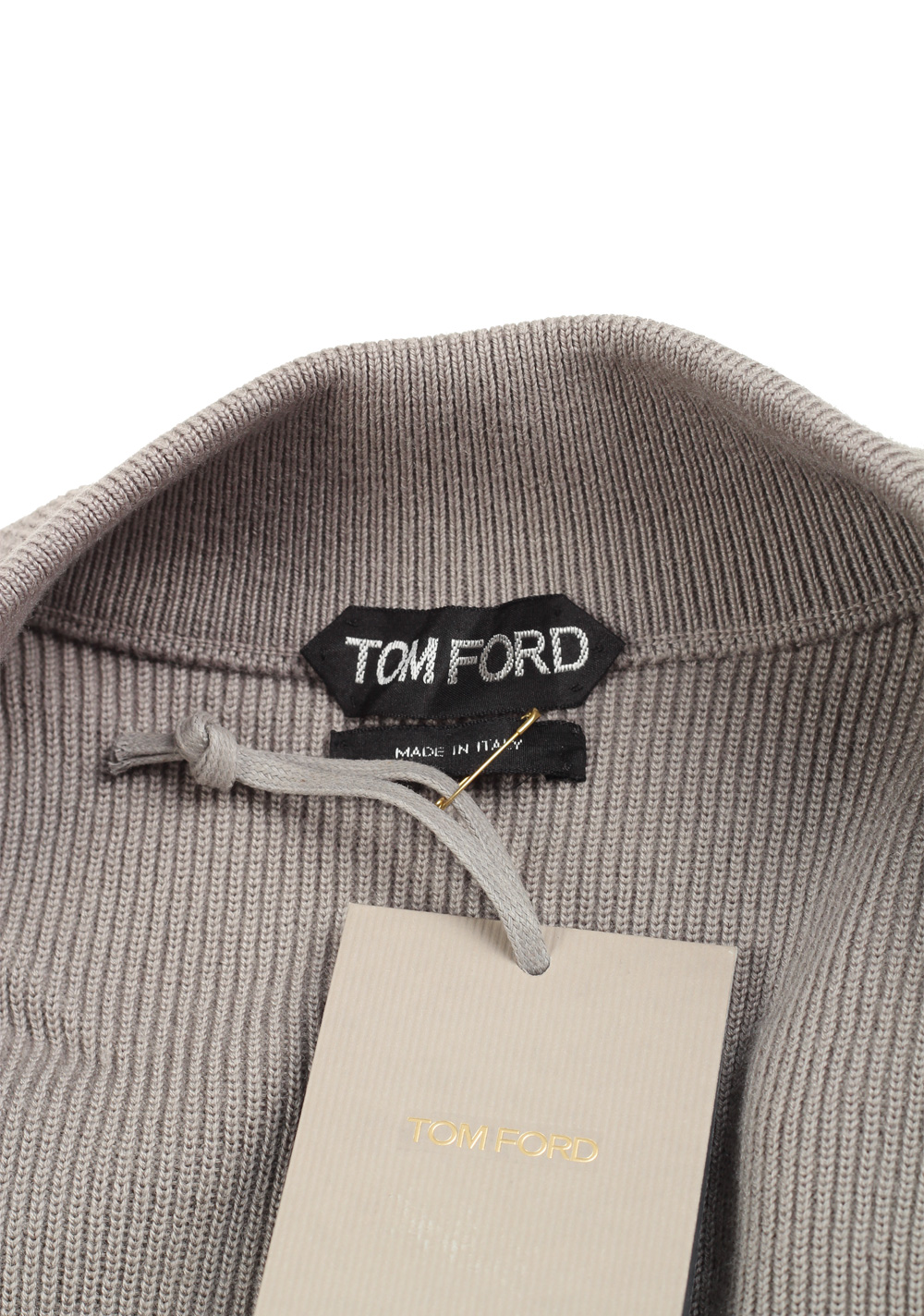 TOM FORD Beige Knitted Sleeve Bomber Jacket  Size 52 / 42R U.S.   Costume Limité