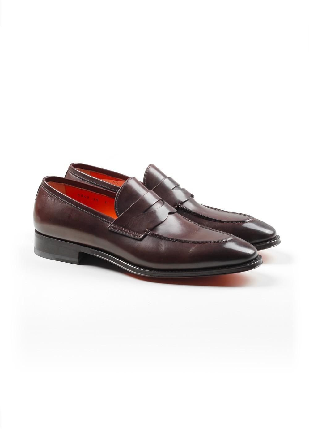 Santoni Shoes Penny Loafers Size 10.5 Uk / 11.5 U.S. / 44.5 Eur   Costume Limité