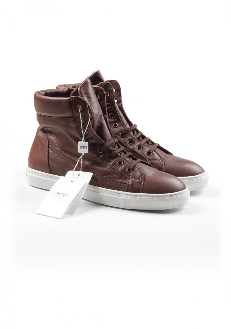 Armani Collezioni Hightop Sneaker Size 42 Eur / 8 U.S. / 7.5 Uk Brown Shoes - thumbnail | Costume Limité