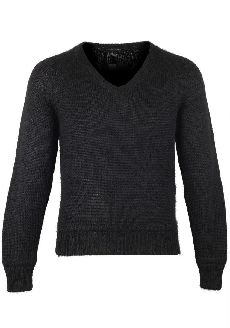 TOM FORD Black V Neck Sweater Size 48 / 38R U.S. In Silk Mohair - thumbnail | Costume Limité