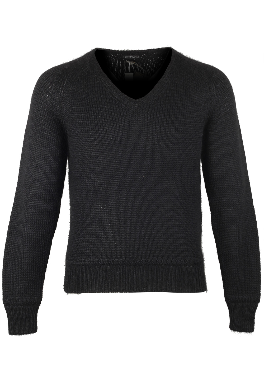 TOM FORD Black V Neck Sweater Size 48 / 38R U.S. In Silk Mohair | Costume Limité