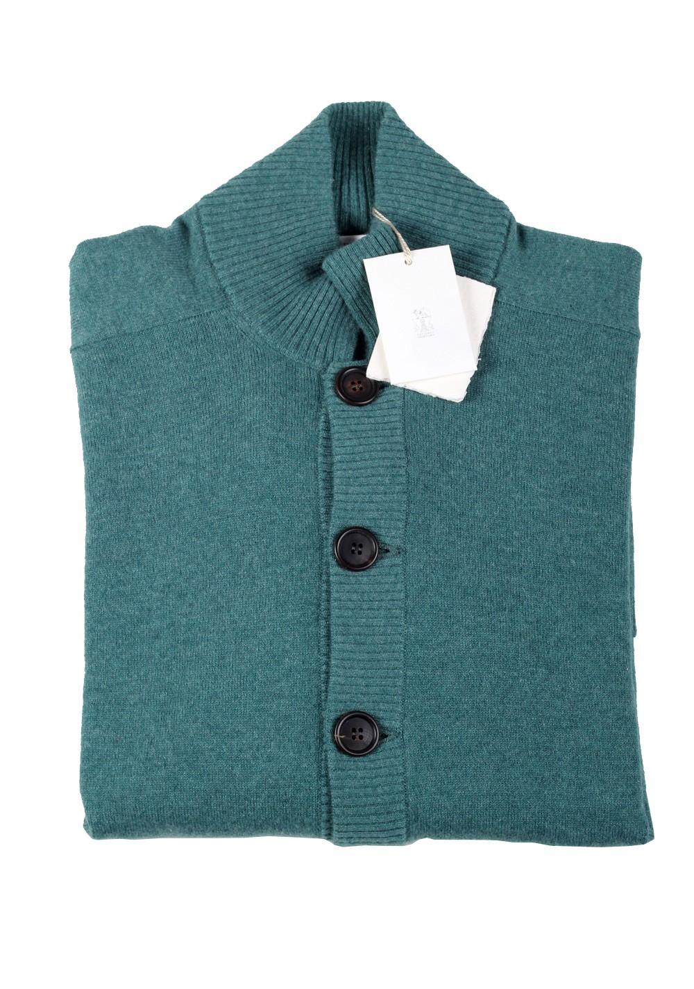 Cucinelli Cardigan Size 58 / 48R U.S. Green 100% Cashmere | Costume Limité